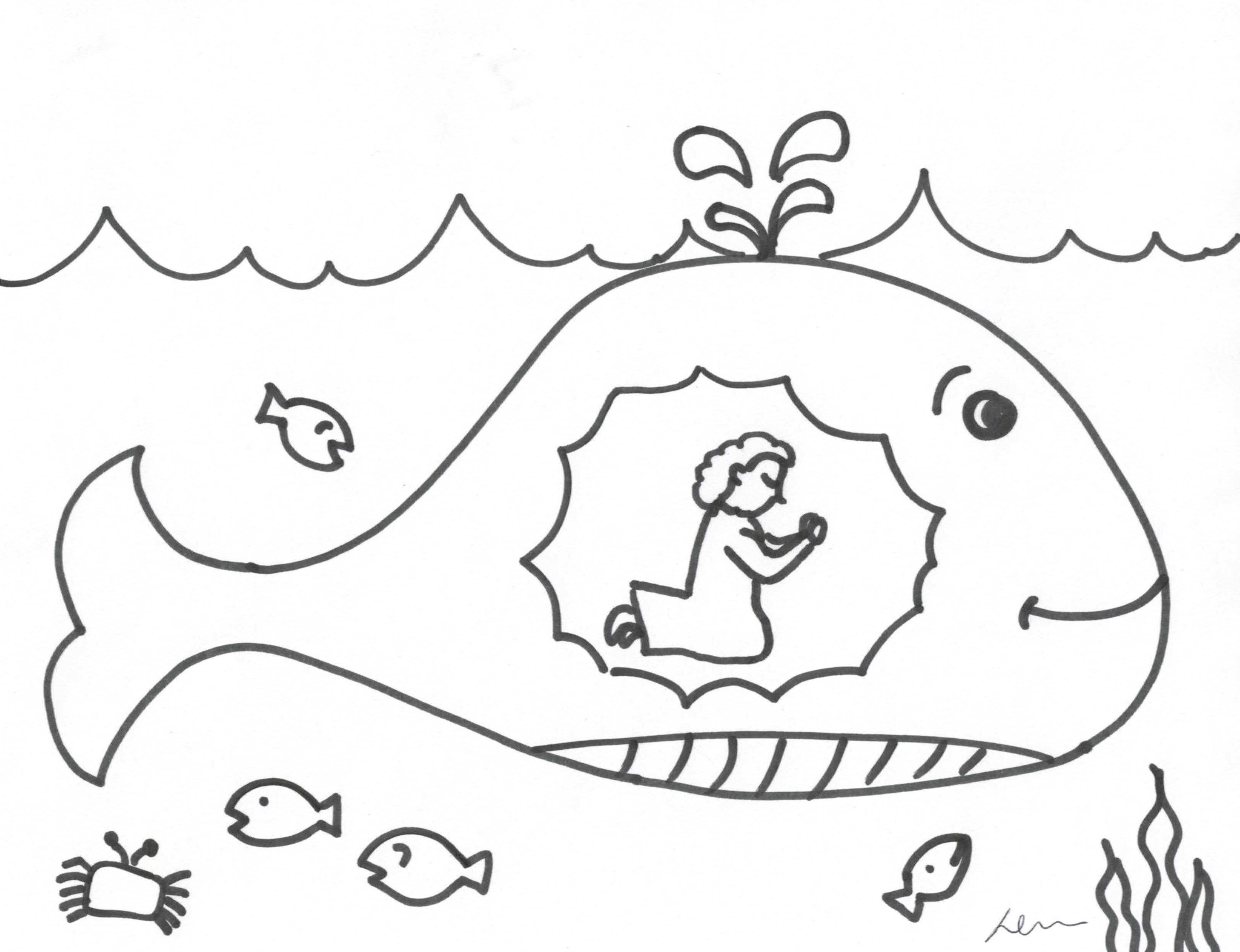 Jonah Big Fish Coloring Pages Colorine 11908 Coloring Home