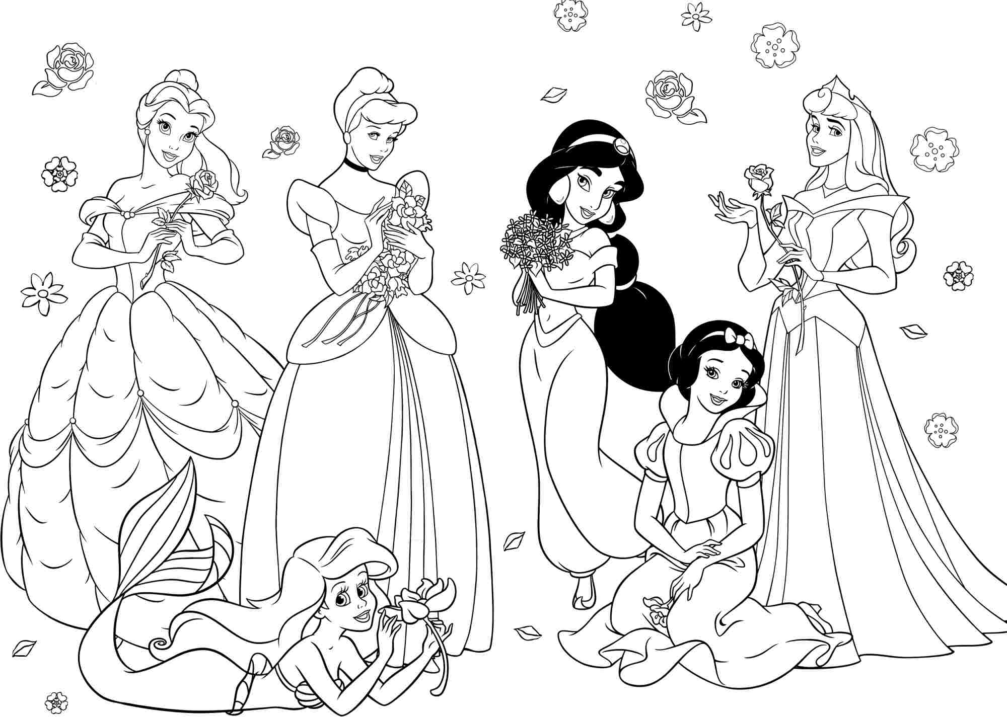 All Disney Princess Coloring Pages Happy Birthday