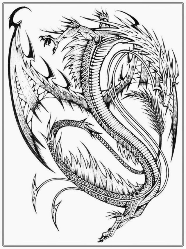 Printable Dragon Coloring Pages For Adults - Coloring Home