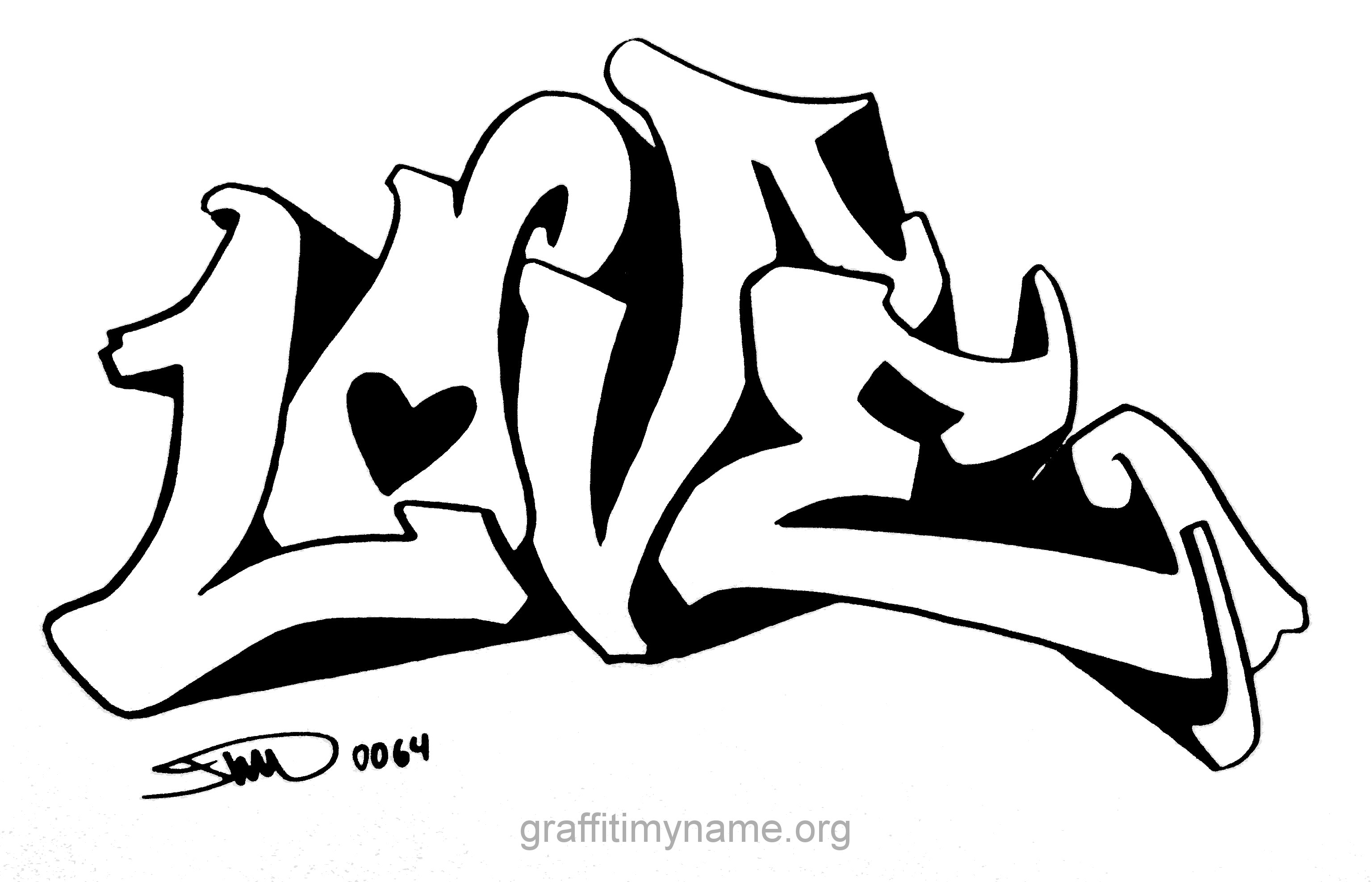 I Love You Graffiti Coloring Pages