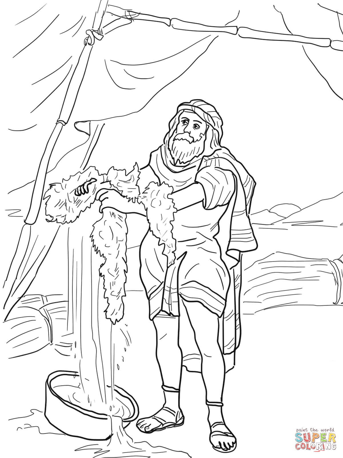 Gideon Bible Story Coloring Pages Sketch Coloring Page