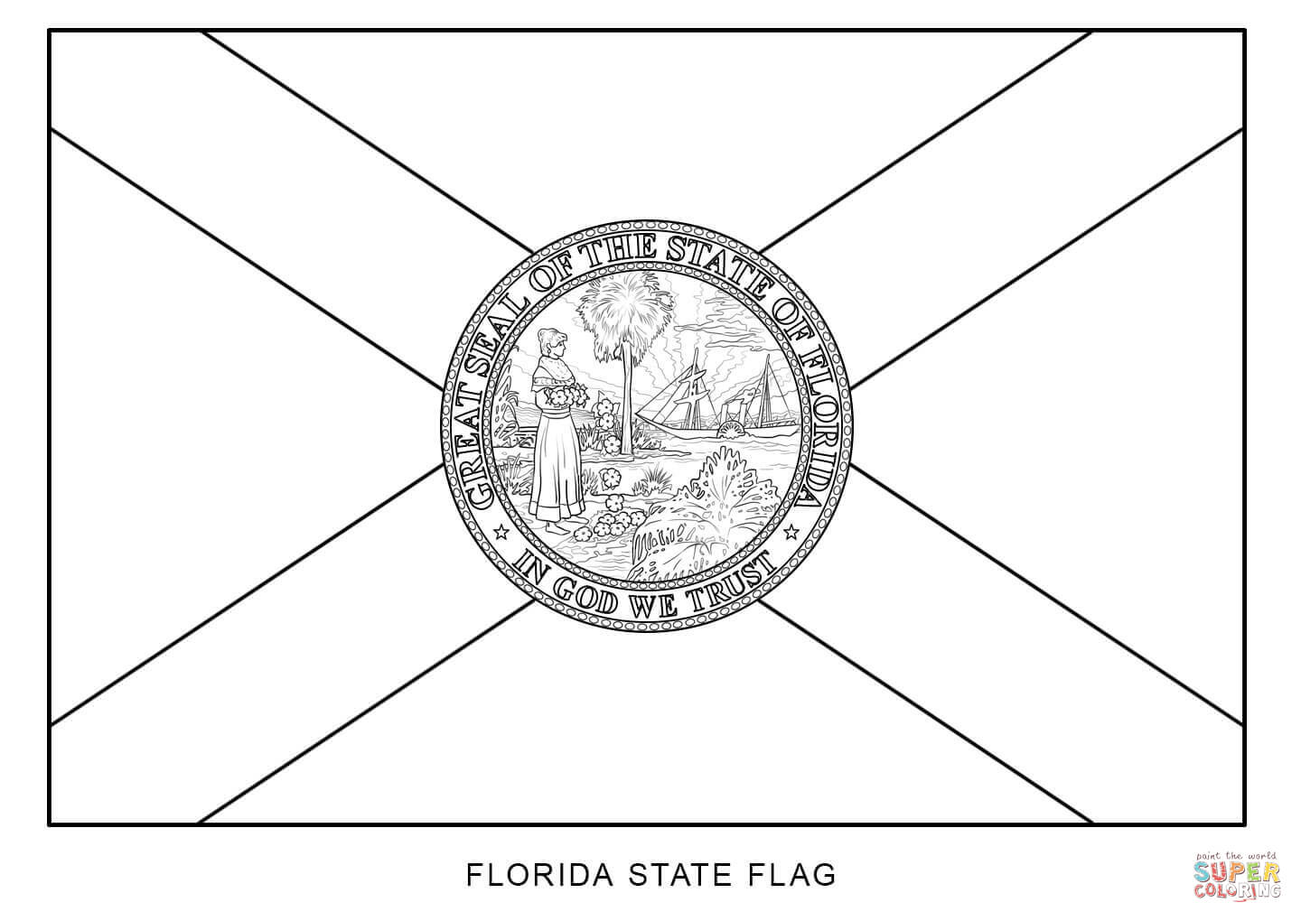 Flag Of Florida Coloring Page