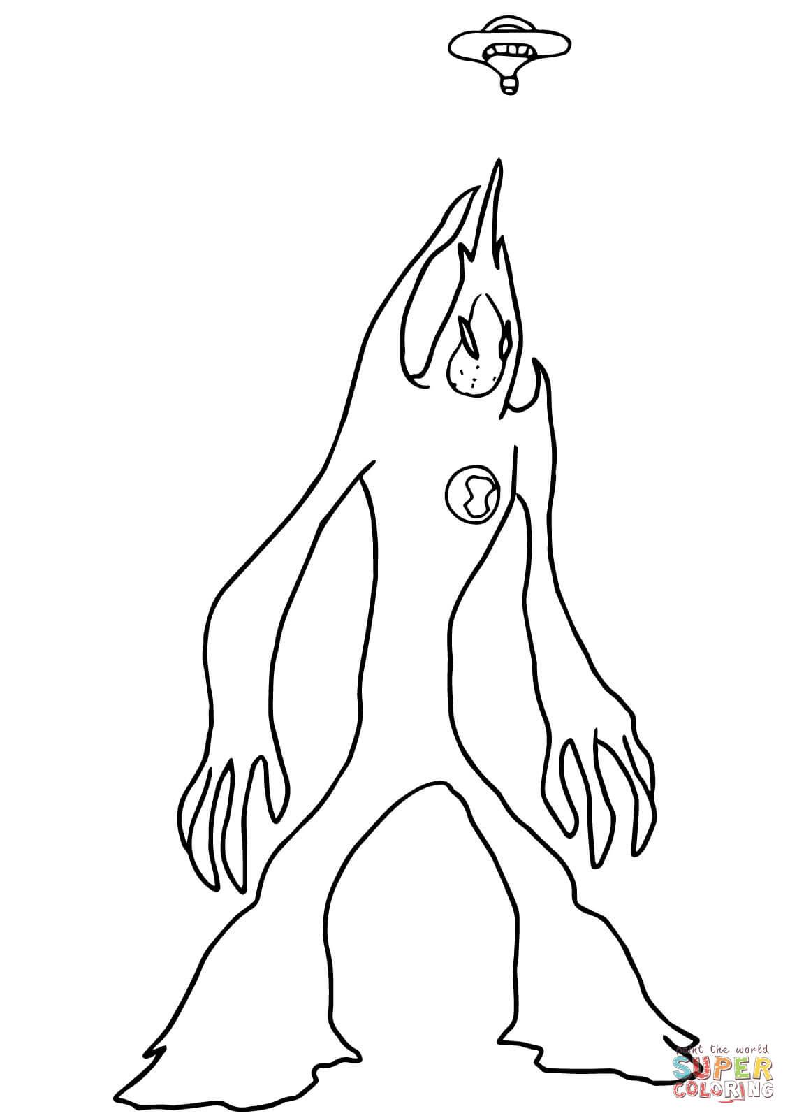 Ben 10 Alien Force Coloring Pages Swampfire
