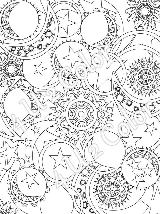 Sun - Moon - Stars - #12, Coloring Page, Sun, Moon & Stars Coloring