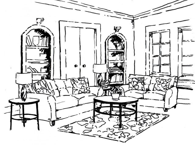 Living Room Furniture Coloring Pages. Living Room 26 Buildings And