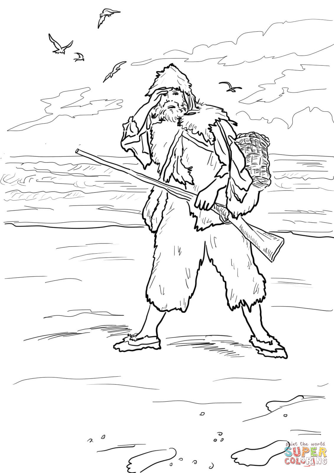 Robinson Crusoe 3d Coloring Pages