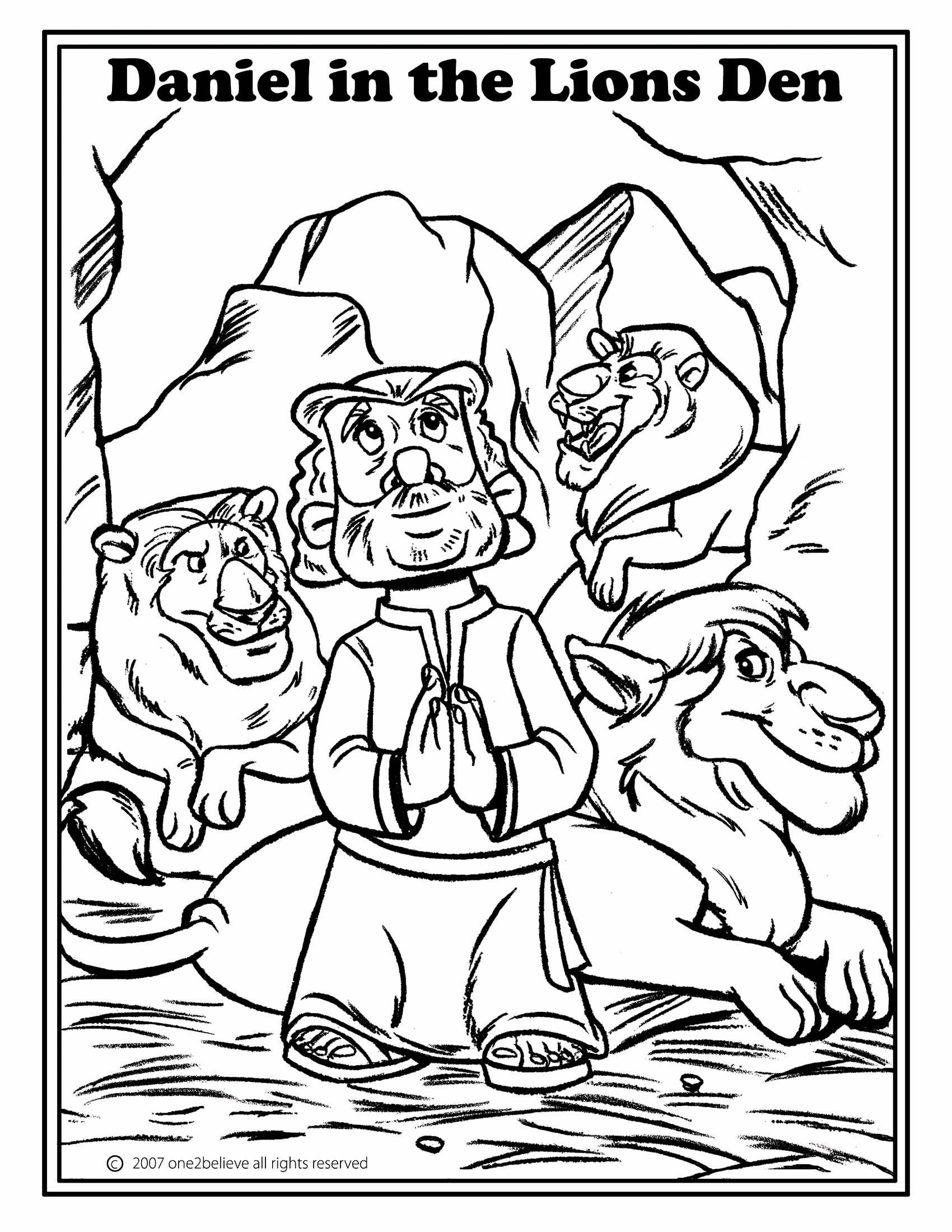 Daniel In The Lion Den Coloring Pages