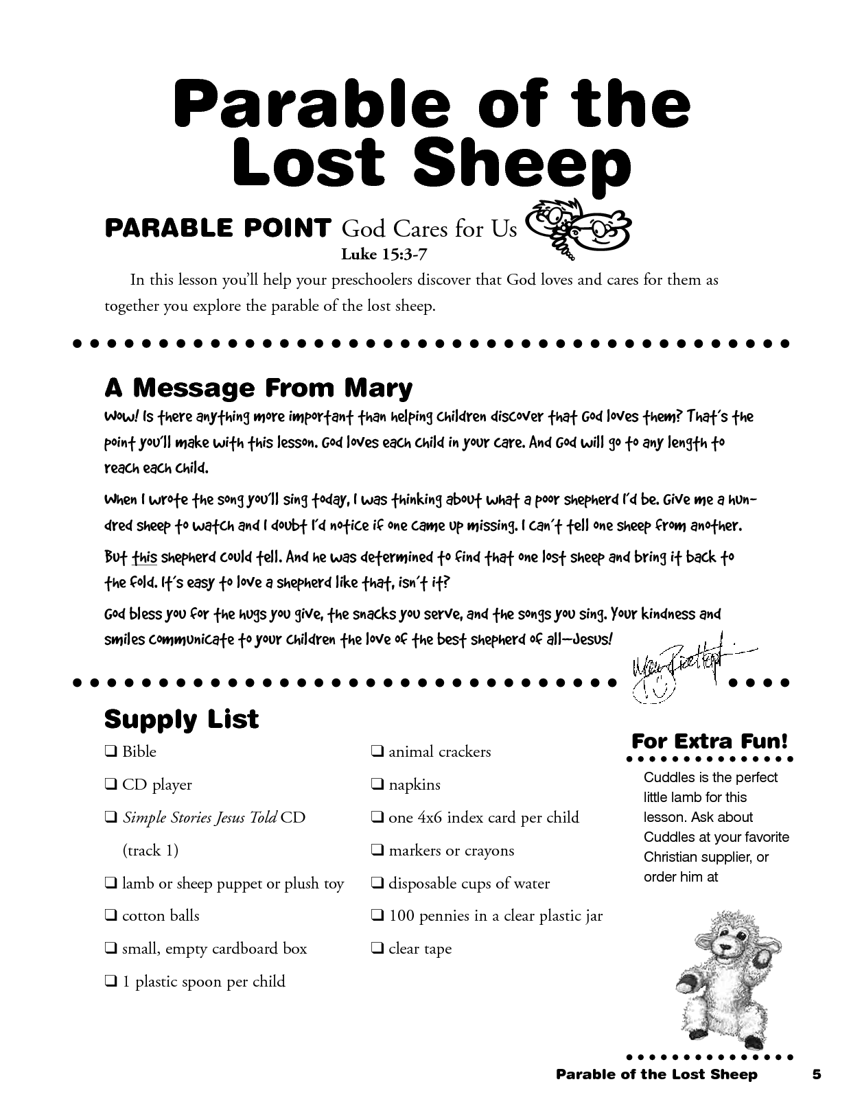 Lost Sheep Lesson Worksheet For Preschool