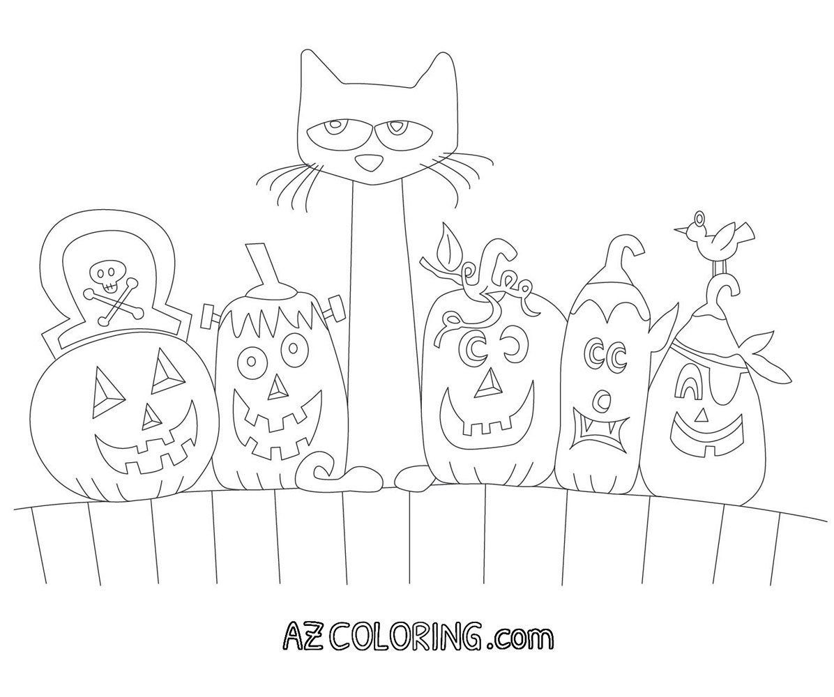 Pete The Cat Halloween Printable Coloring Page