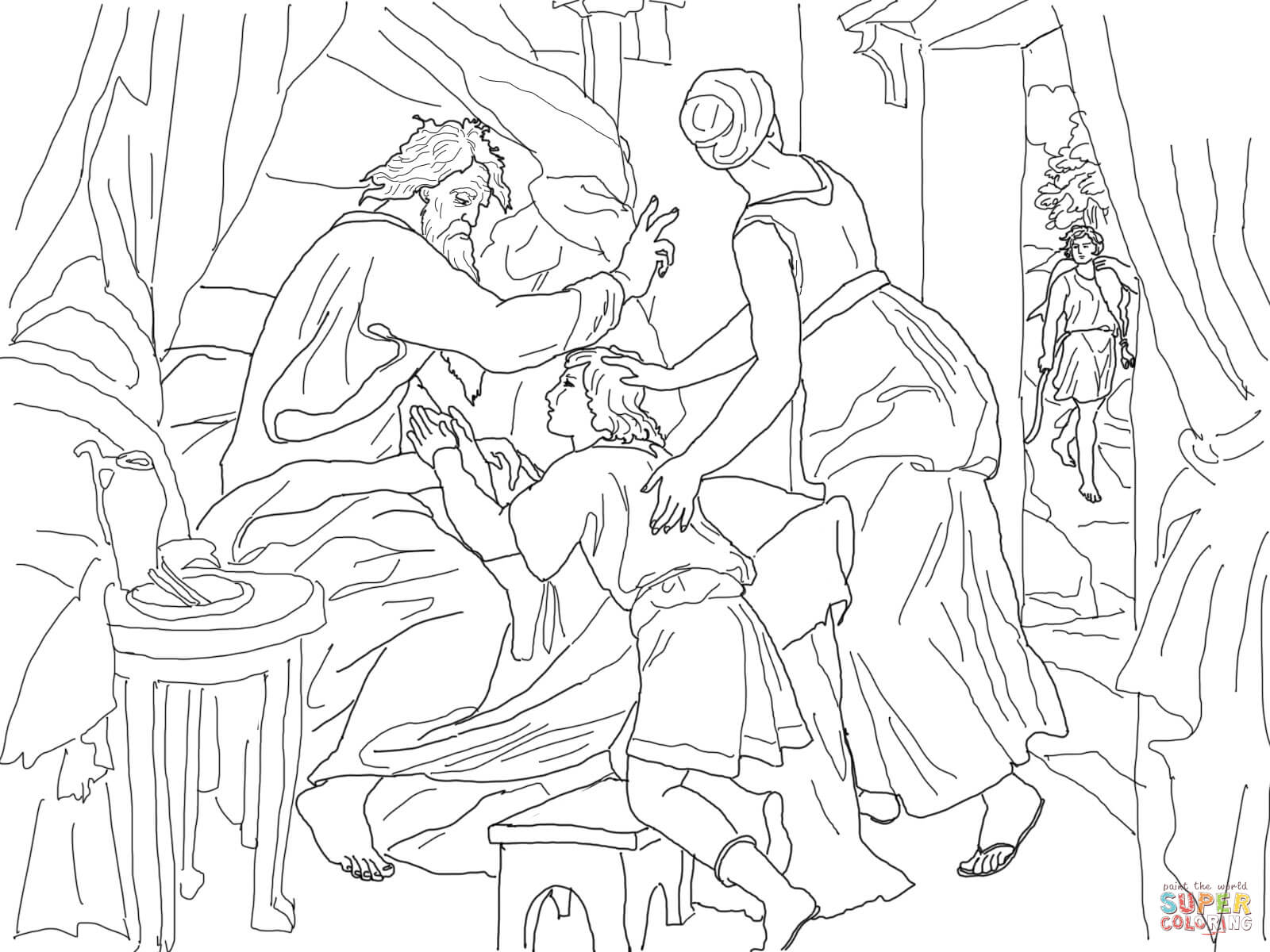 Isaac Blessing Jacob Coloring Page