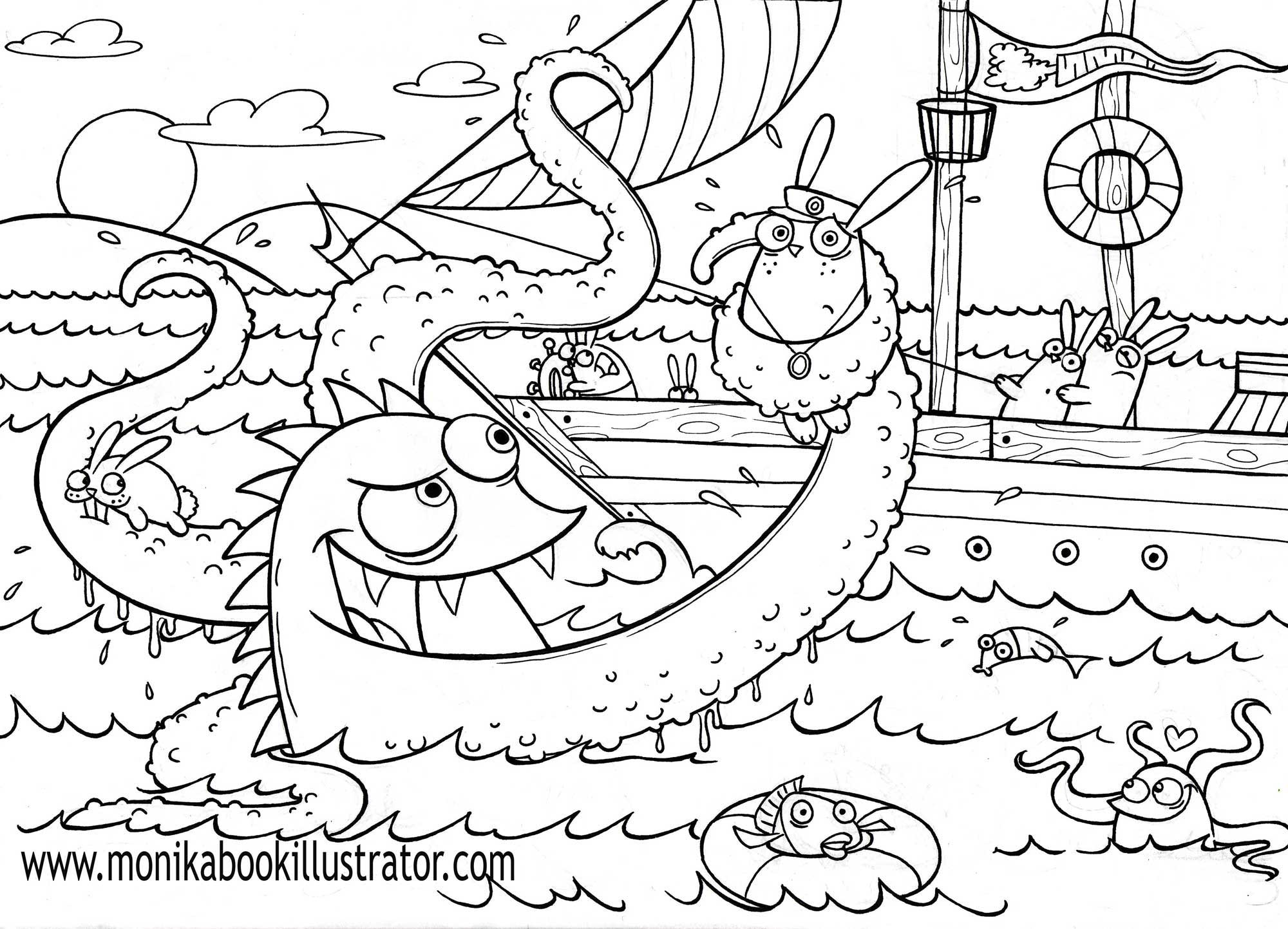 Monsters Coloring Page Coloring Home