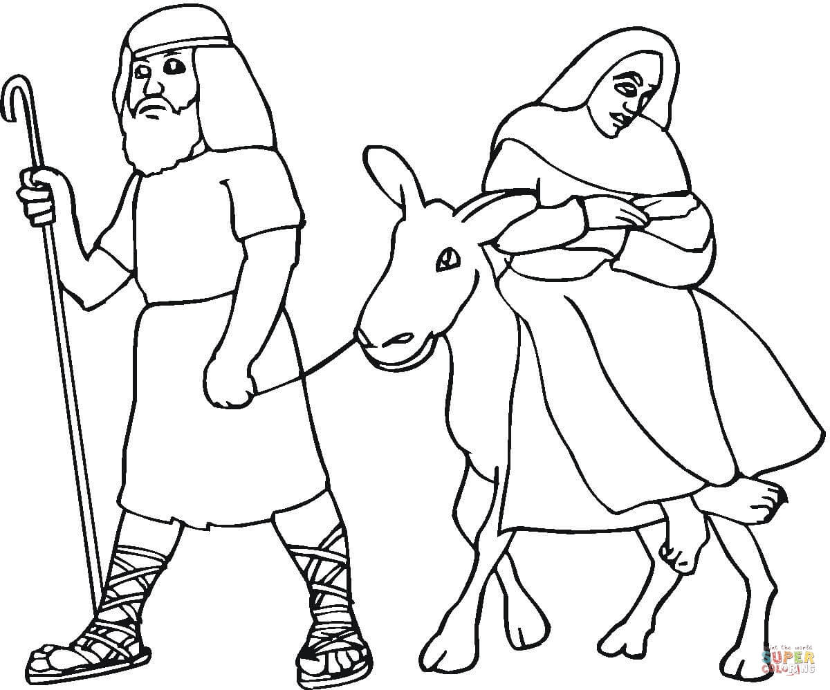 Mary And Joseph Flight Into Egypt Coloring Page Free Printable