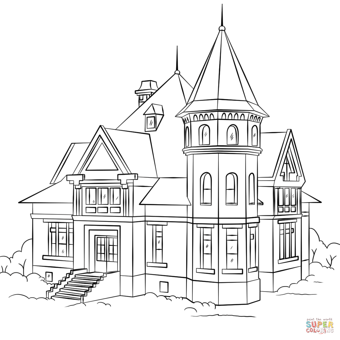 Victorian Houses Coloring Pages Coloring Home