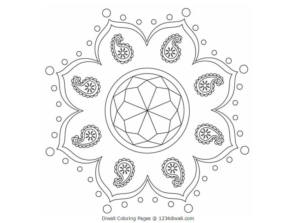 Diwali Coloring Worksheet