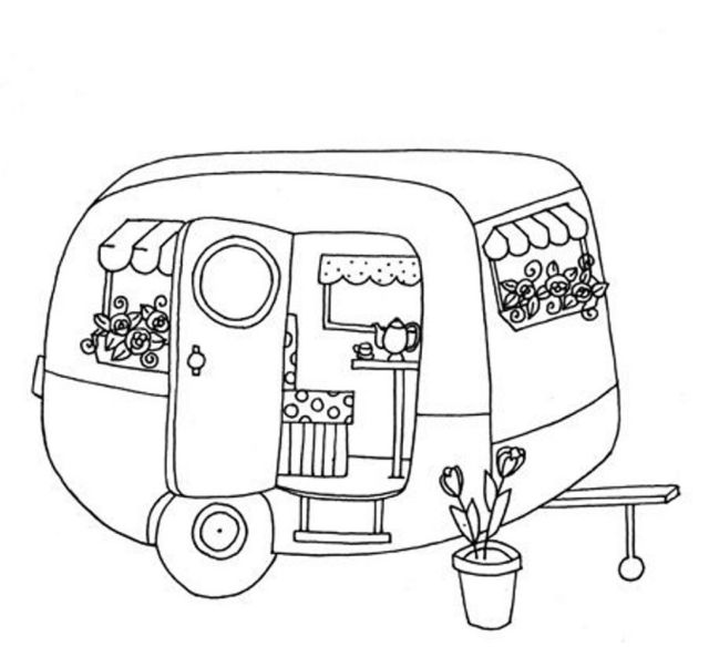 Cute Trailer/caravan Colouring Page  Redwork Embroidery