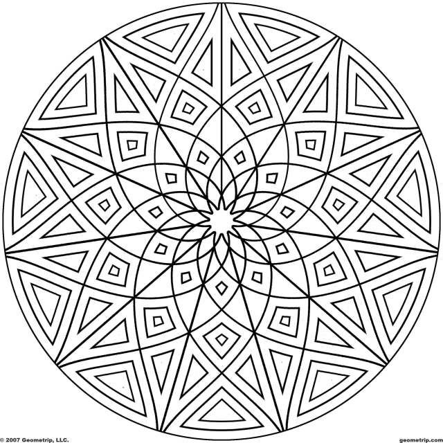 25 Pics Of Complicated Geometric Coloring Pages - Kaleidoscope