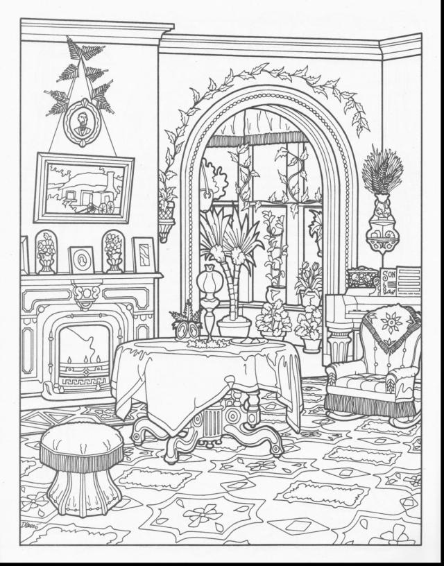 Wonderful Interior House Coloring Pages With House Coloring Page