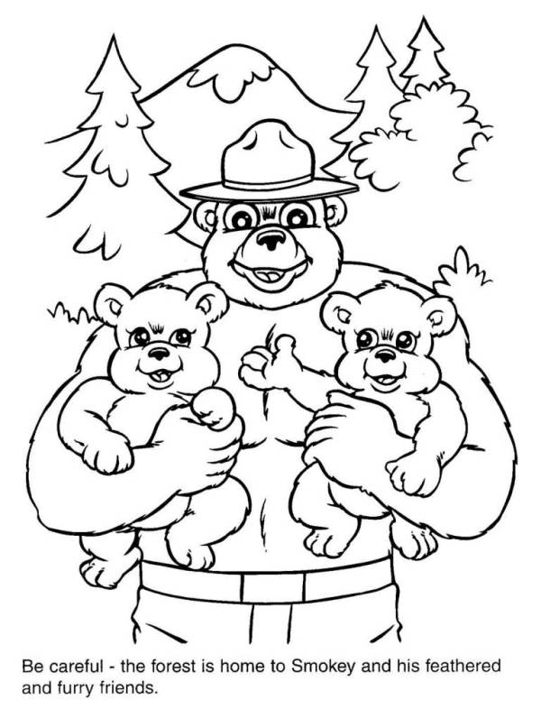smokey the bear coloring pages # 6