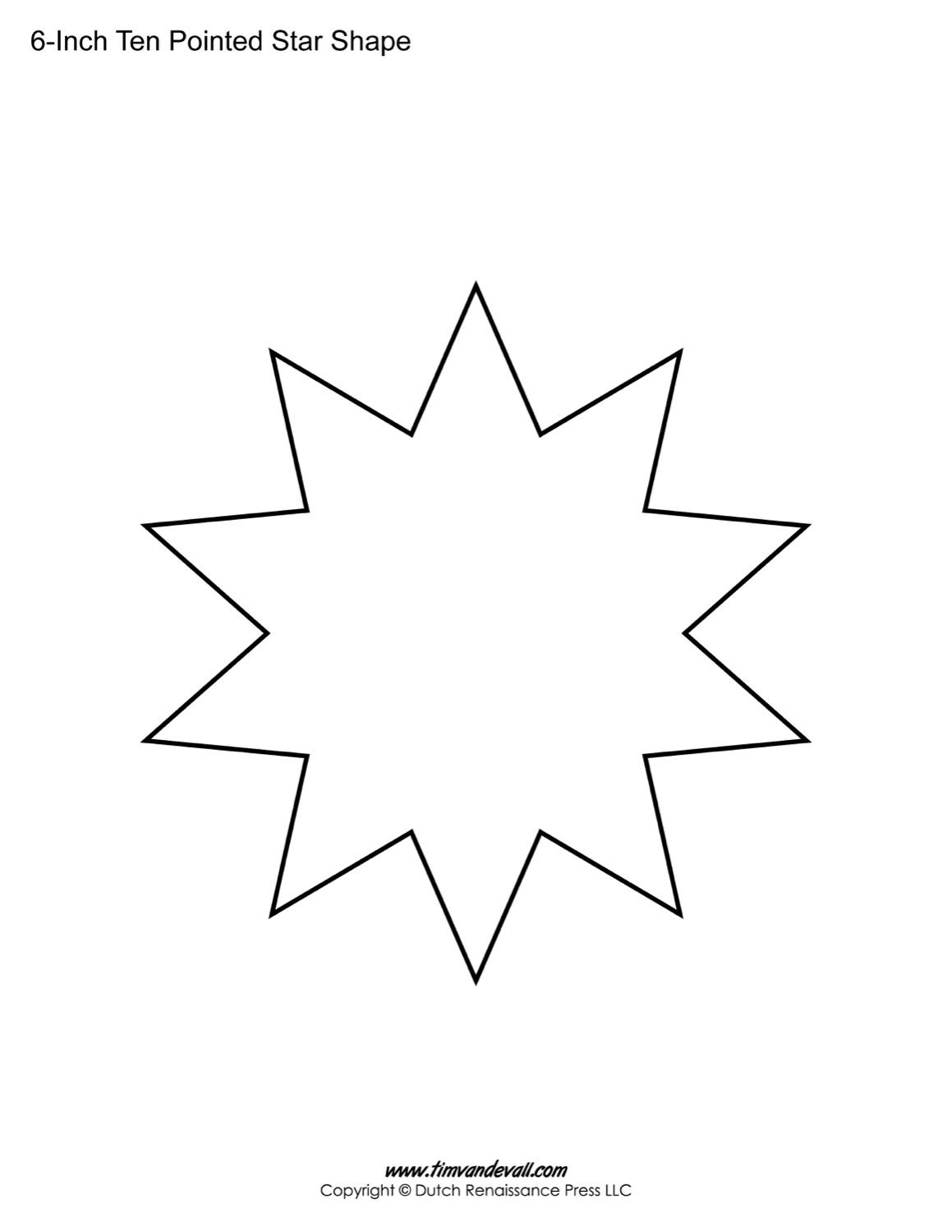 Star Template For Kids