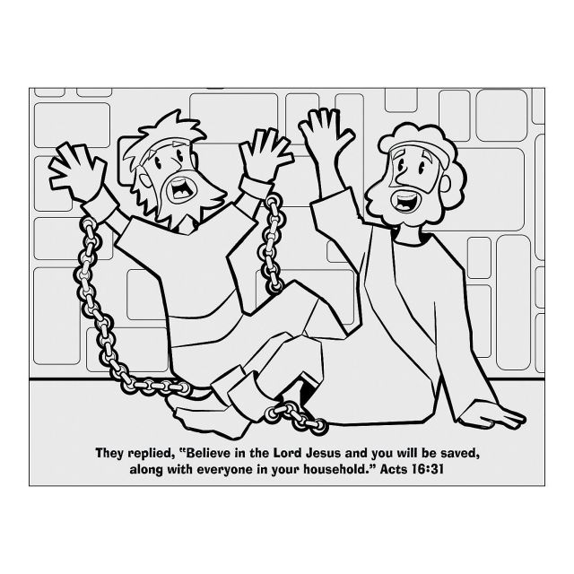 Paul And Silas In Jail Free Coloring Page - Coloring Home