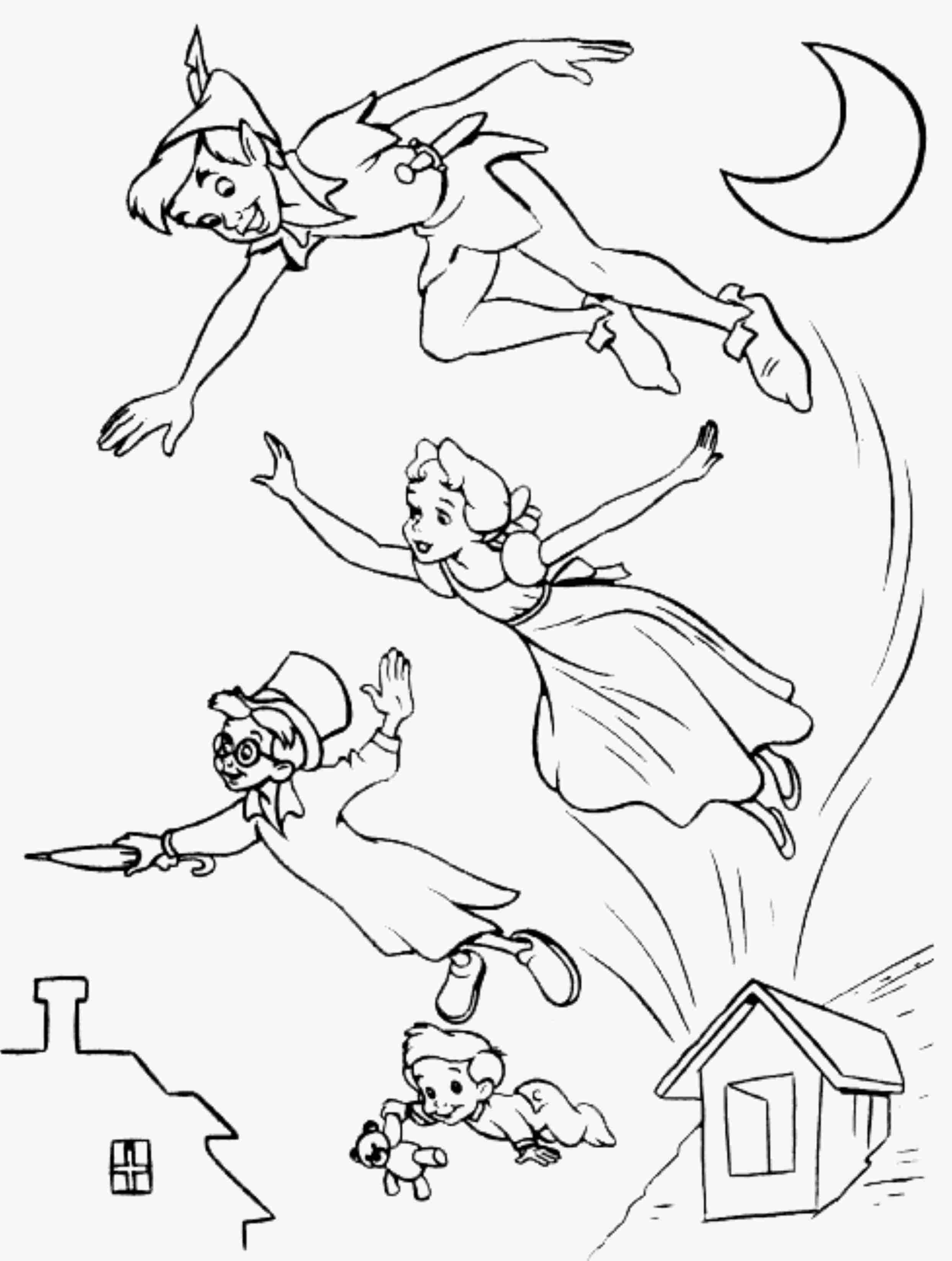 Peter Pan Flying Coloring Pages