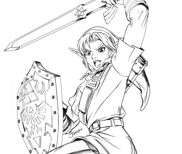 Legend Of Zelda Link Coloring Pages Free Printable Zelda Coloring