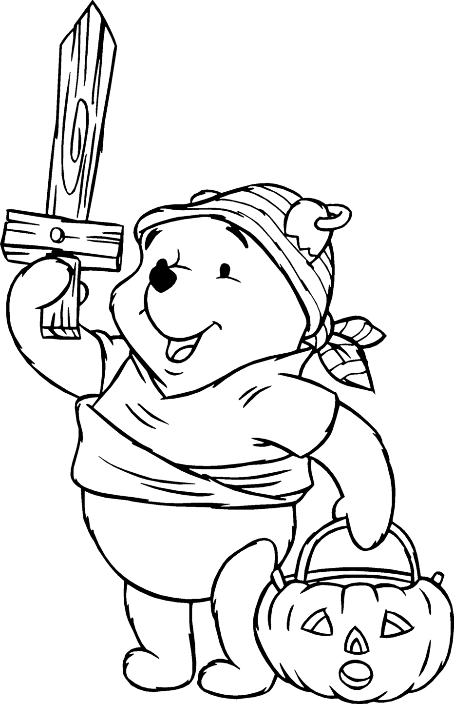 Halloween Pooh Pirate Costume Coloring Pages For Kids Free