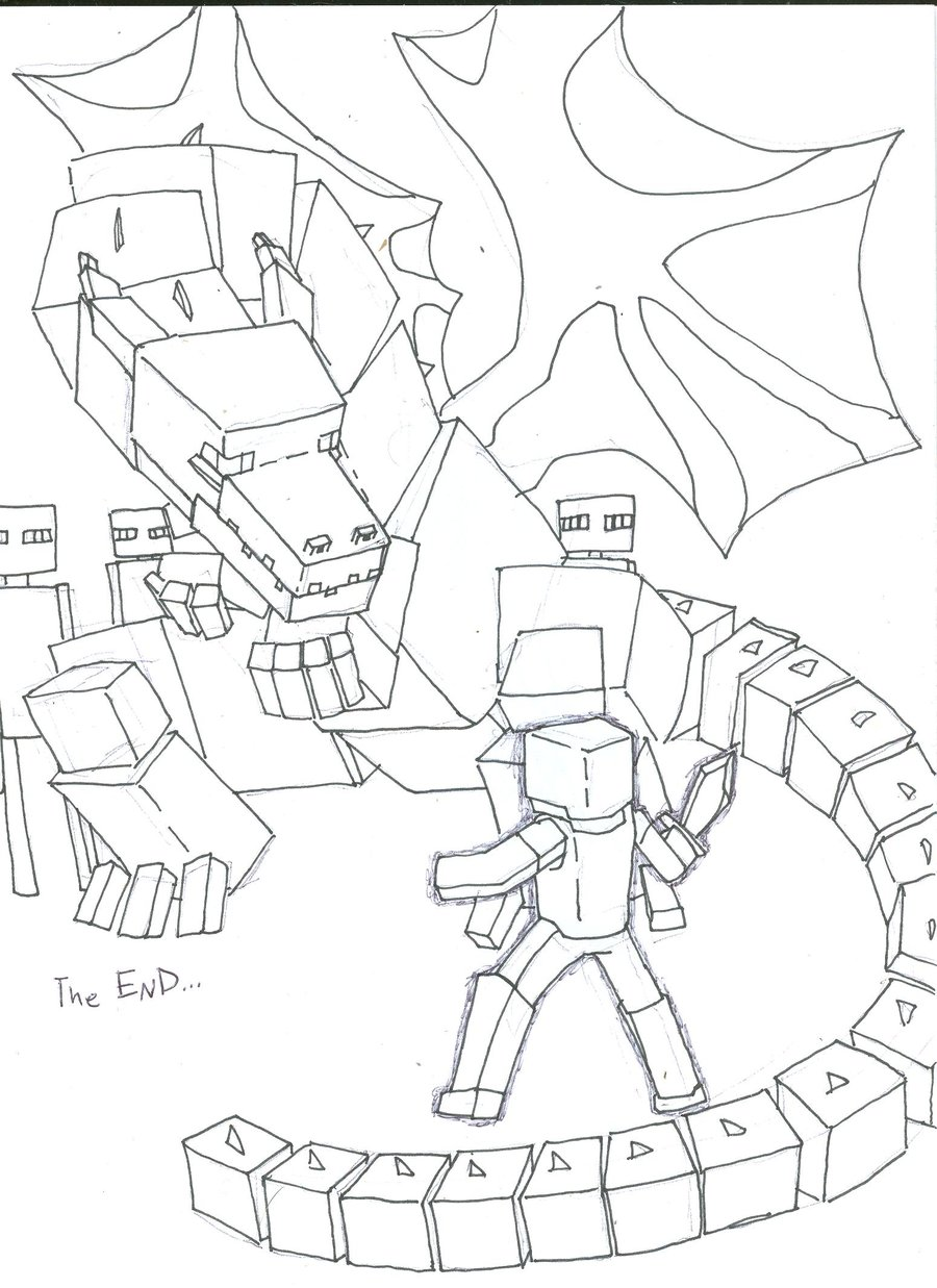 Minecraft Ender Dragon Coloring Pages Printable