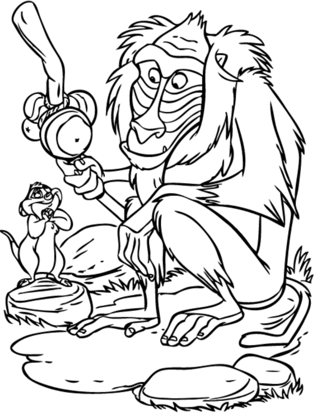 Rafiki And Timon Coloring Page - Free Printable Coloring Pages for