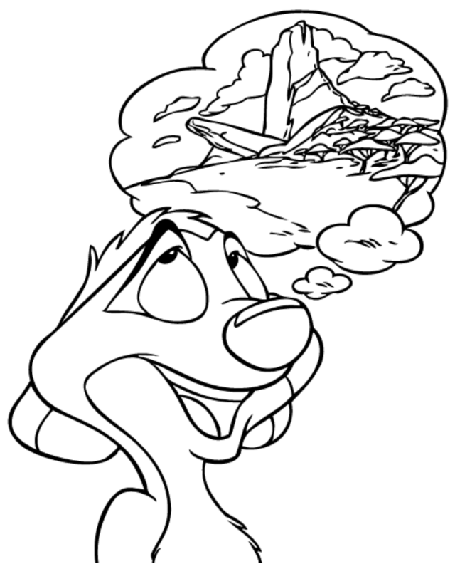 Timon Is Dreaming Coloring Page - Free Printable Coloring Pages