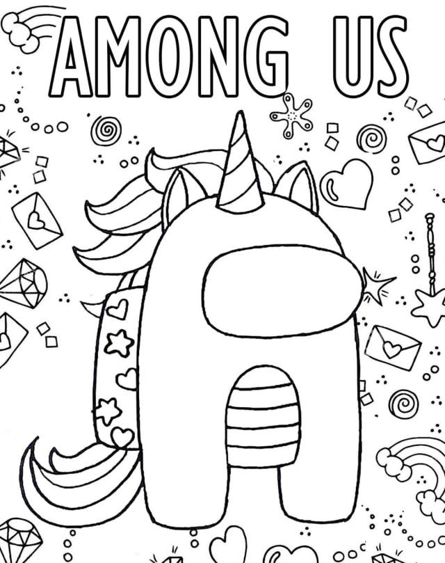 Among Us Unicorn Coloring Page - Free Printable Coloring Pages for