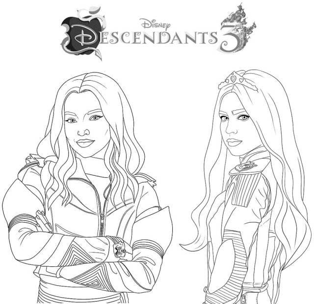 Descendents 24 Mal and Evie Coloring Page - Free Printable Coloring