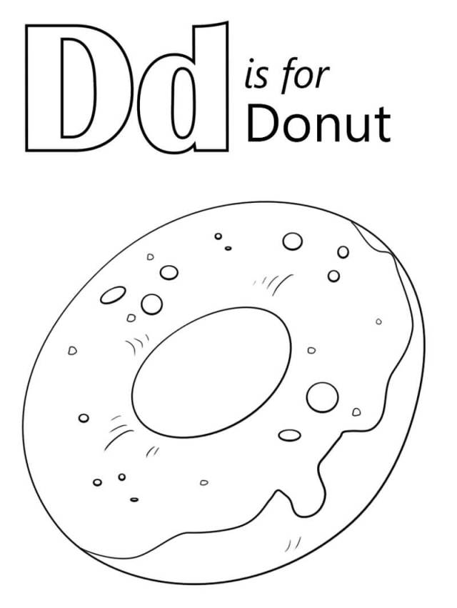 Donut Letter D Coloring Page - Free Printable Coloring Pages for Kids