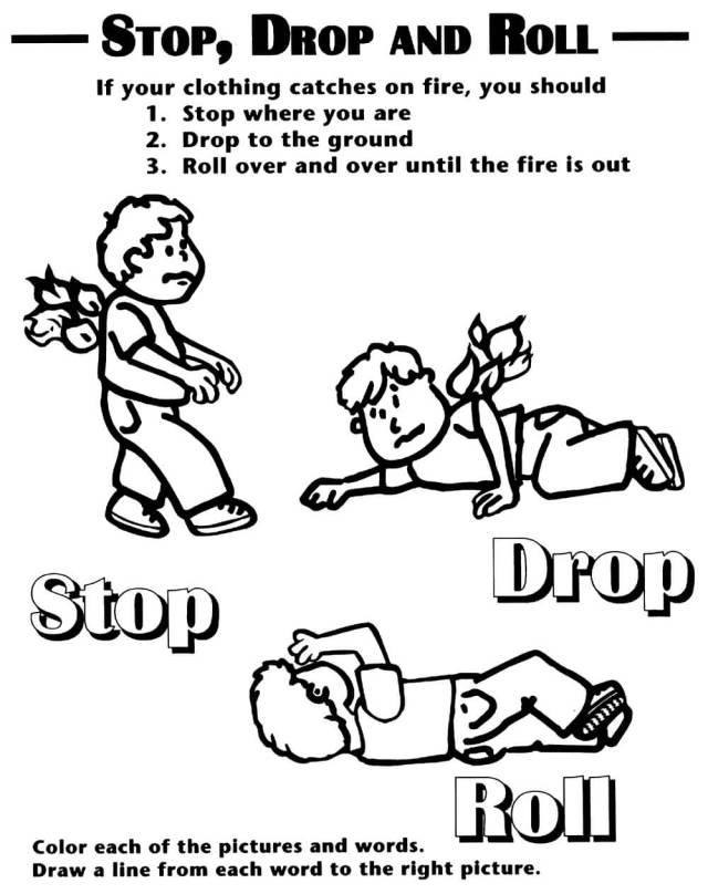 Stop, Drop And Roll Fire Safety Coloring Page - Free Printable