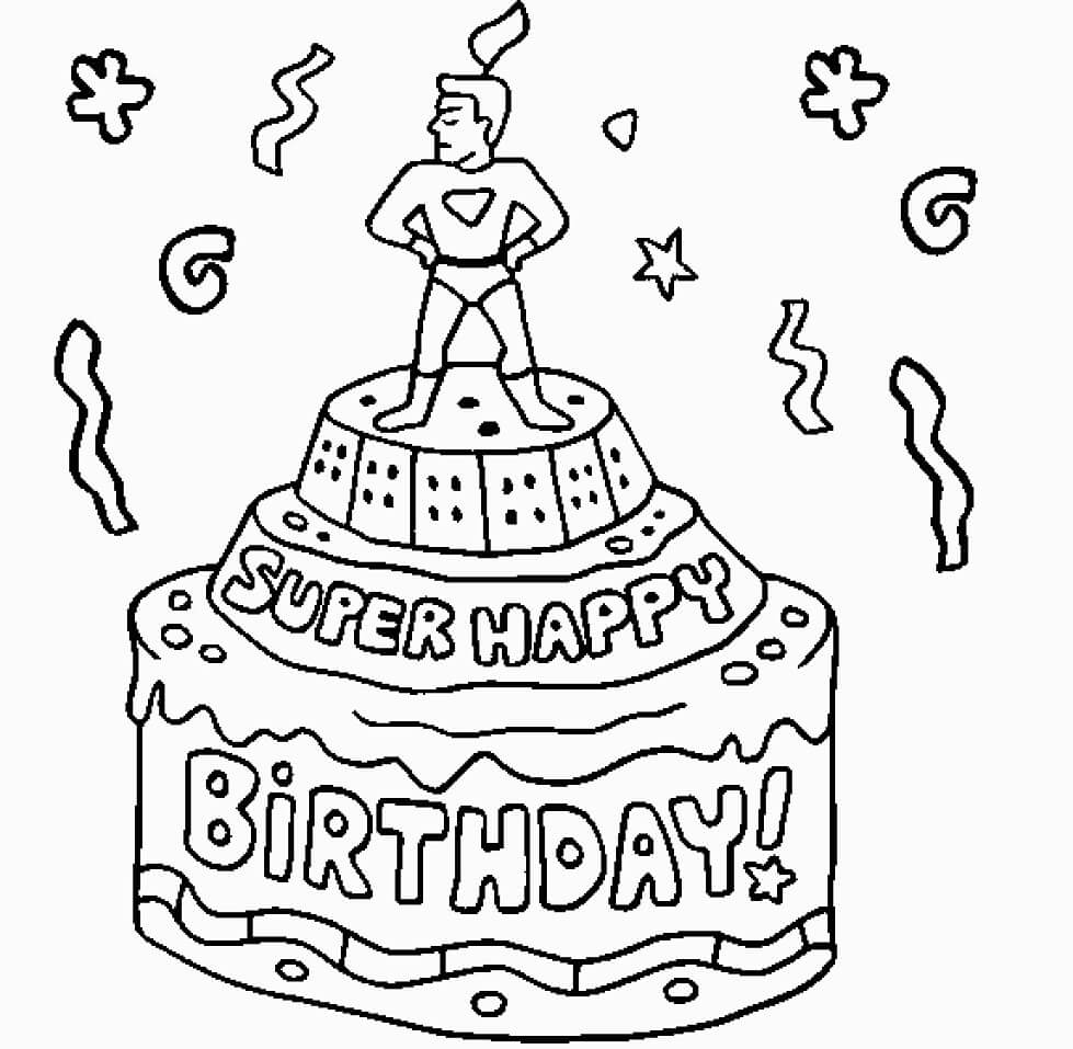 Super Happy Birthday Cake Coloring Page Free Printable Coloring Pages For Kids