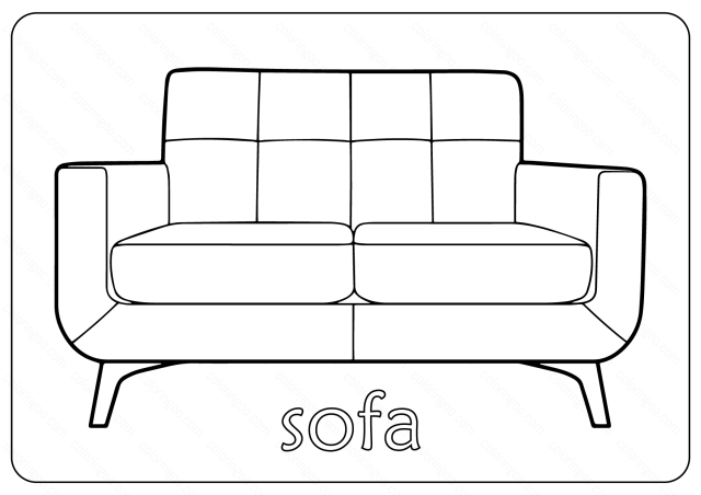 Free Printable Sofa (Couch) Coloring Pages