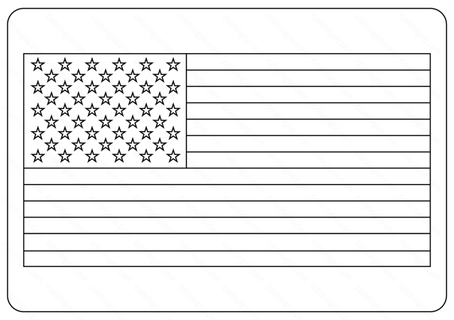 Free Printable USA Flag Outlines Coloring Page & Vector