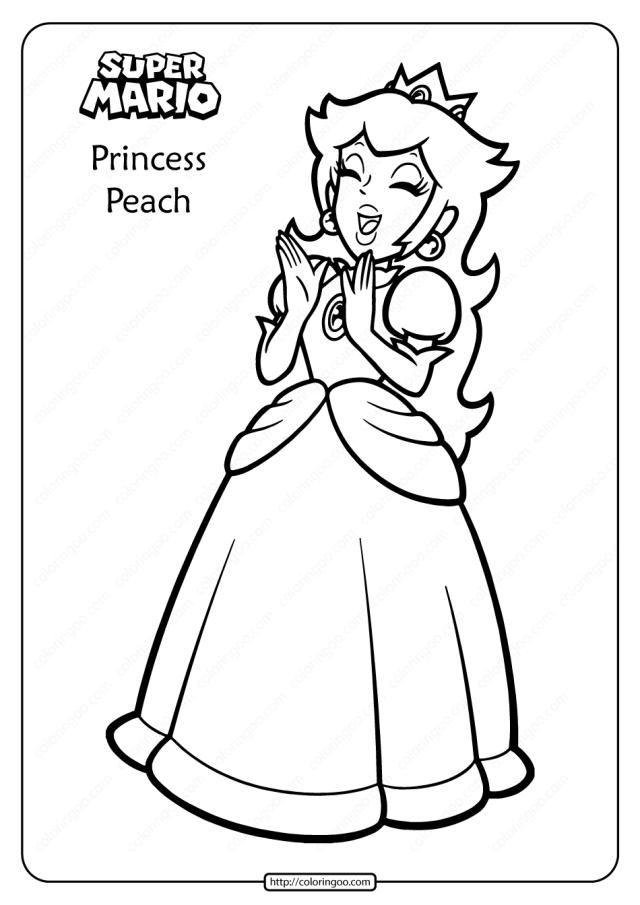 Free Printable Princess Peach Pdf Coloring Page