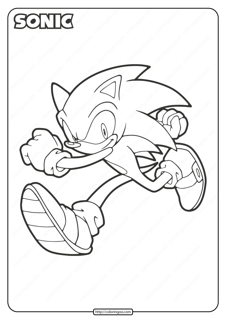 Free Printable Sonic The Hedgehog Coloring Page