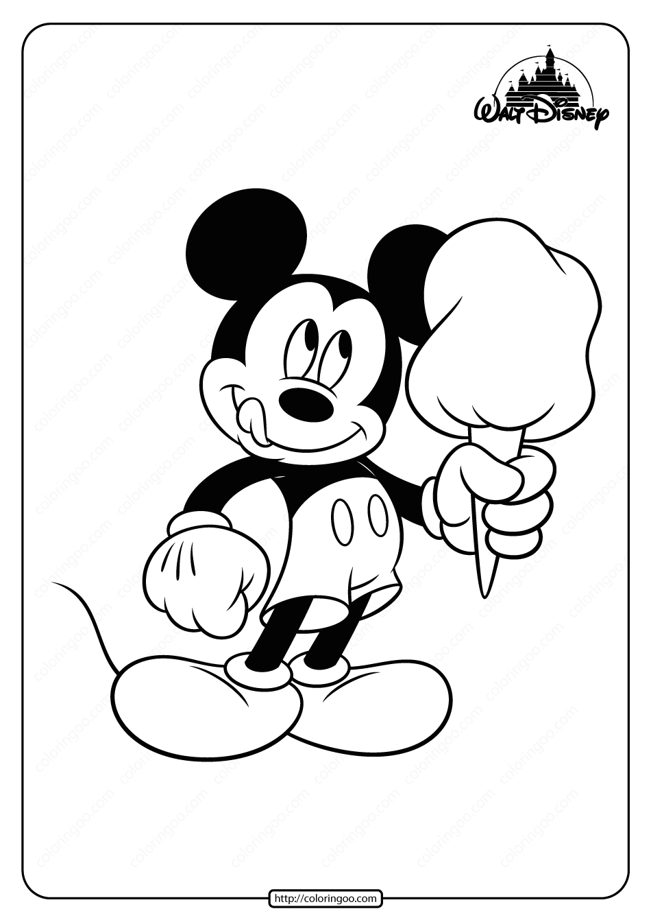 Printable Mickey Mouse Cotton Candy Coloring Page