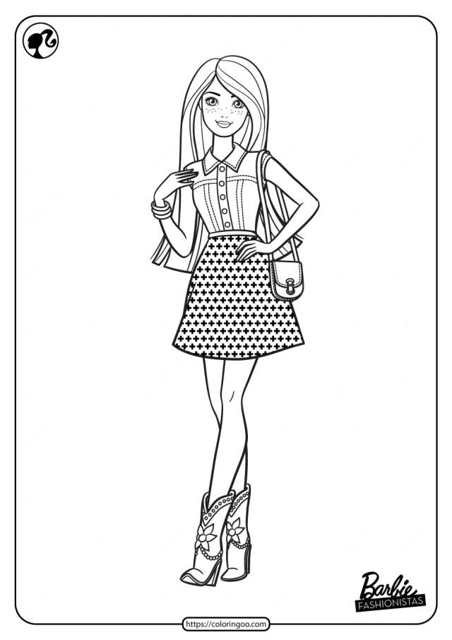 Printable Barbie Fashionistas Pdf Coloring Pages 9