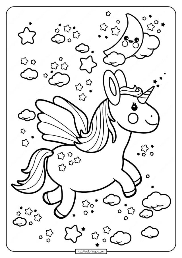 Printable Flying Kawaii Unicorn Coloring Pages
