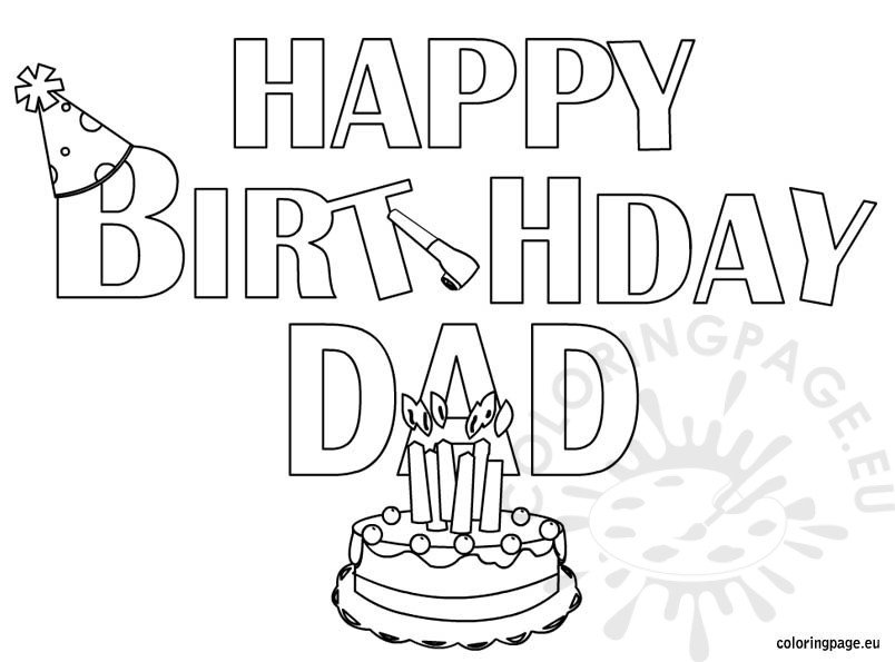Happy Birthday Dad Coloring Page Coloring Page