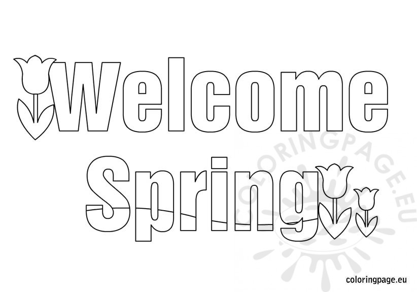 welcome spring tulips coloring page – coloring page