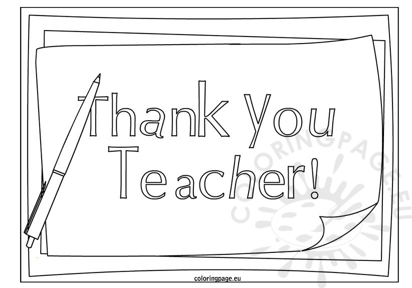 Thank You Teacher Coloring Page Coloring Page