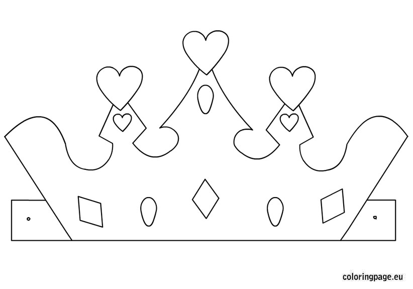princess crown template – coloring page