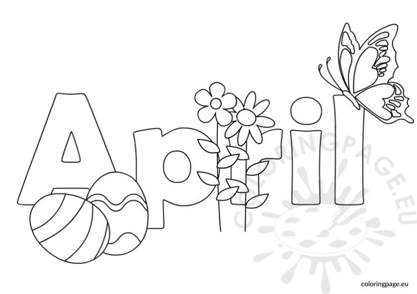 black and white april – coloring page