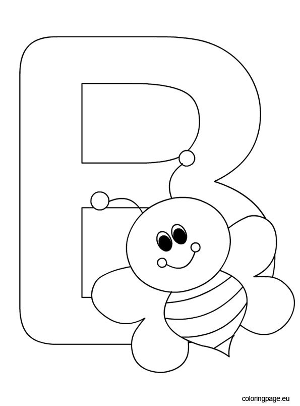 alphabet – letter b – coloring page