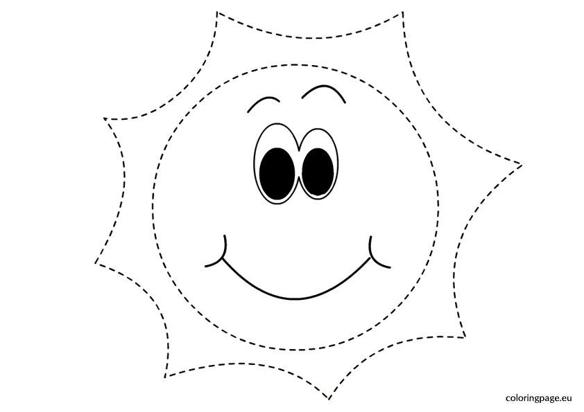 Traceable Sun Picture Coloring Page