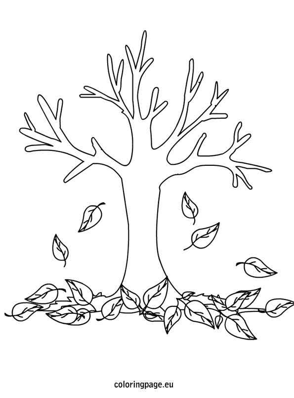 Printable Pages Coloring Tree Spring